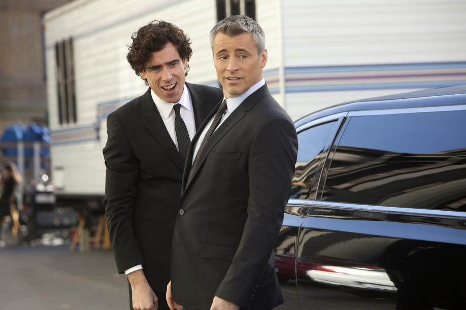 "Matt LeBlanc (front) with Stephen Mangan in a scene from ""Episodes."""